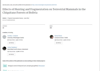 Effects of Hunting and Fragmentation of Terrestrial Mammals in the Chiquitano Forests of Bolivia