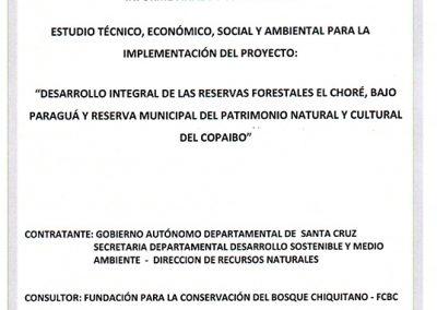 TESA-Desarrollo integral de las reservas forestales El Choré, Bajo Paraguá y Copaibo