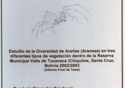 Tesis – Estudio de Diversidad de Arañas (Aranae) en Tres Diferentes Tipos de Vegetación de la Reserva Municipal Valle de Tucavaca