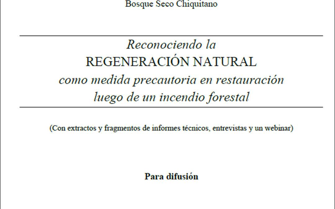 Aportes desde el conocimiento, para decisiones en restauración del Bosque Seco Chiquitano