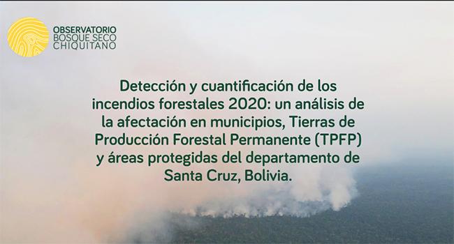 Detección y cuantificación de los incendios forestales 2020 en el departamento de Santa Cruz