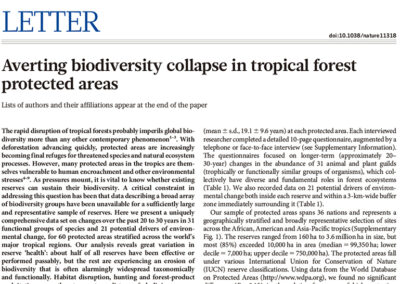 Averting biodiversity collapse in tropical forest protected areas